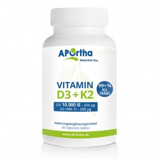 Vitamin D3 10.000 IE + Natto Vitamin K2 MK7 200 µg - 365 vegane Tabletten