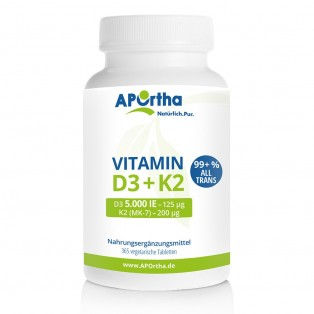 Vitamin D3 5.000 IE + Natto Vitamin K2 MK7 200 µg - 365 Tabletten